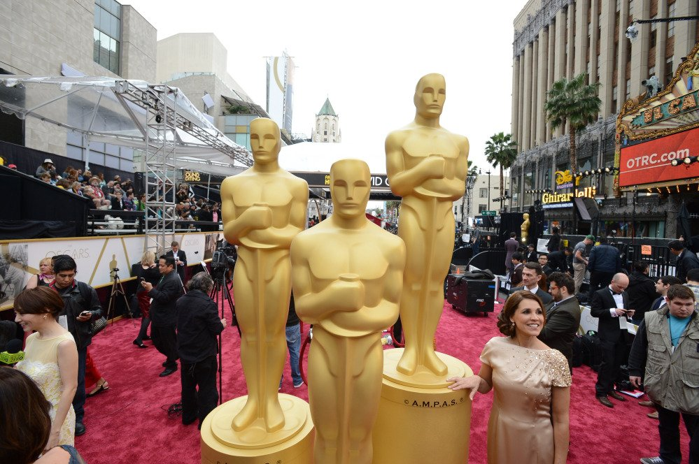 A general view as preparations are made for the Oscars on Sunday at the Dolby Theatre in Los Angeles.