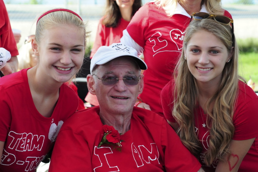 Sarah Caldwell, right, with her father, Jim Caldwell, and sister, Kathryn Caldwell, at September's Walk to Defeat ALS fundraiser in Portland. Sarah, a Falmouth High School student, rallied a team of more than 200 people to raise $23,000 to battle ALS.
