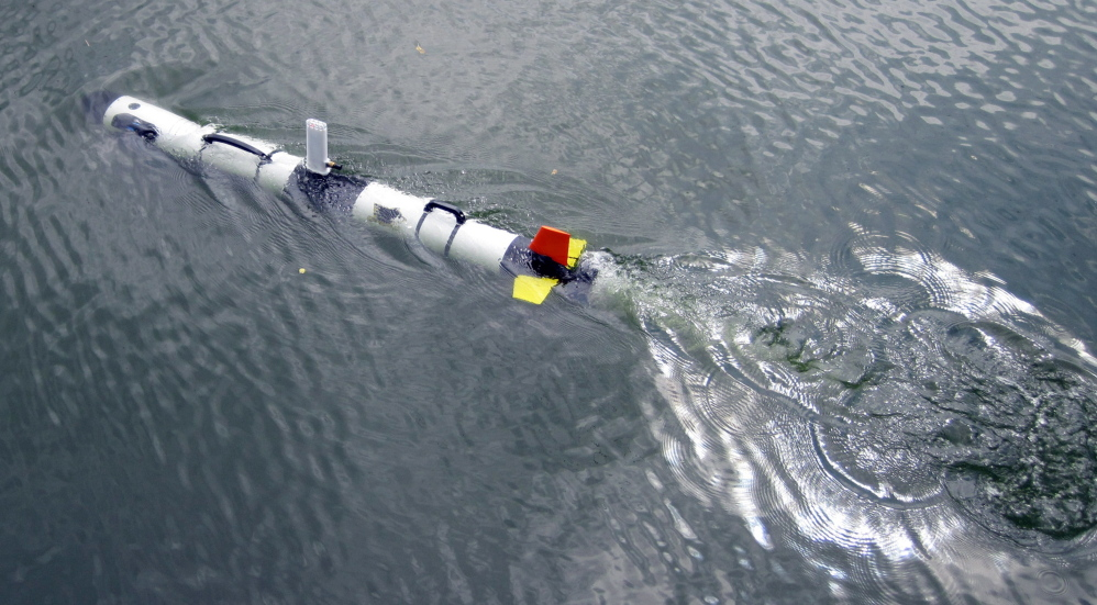 This photo shows an Iver 3 autonomous underwater vehicle. Michigan Tech's Great Lakes Research Center will use the device to conduct sonar inspections of the Enbridge oil pipelines beneath the Straits of Mackinac.