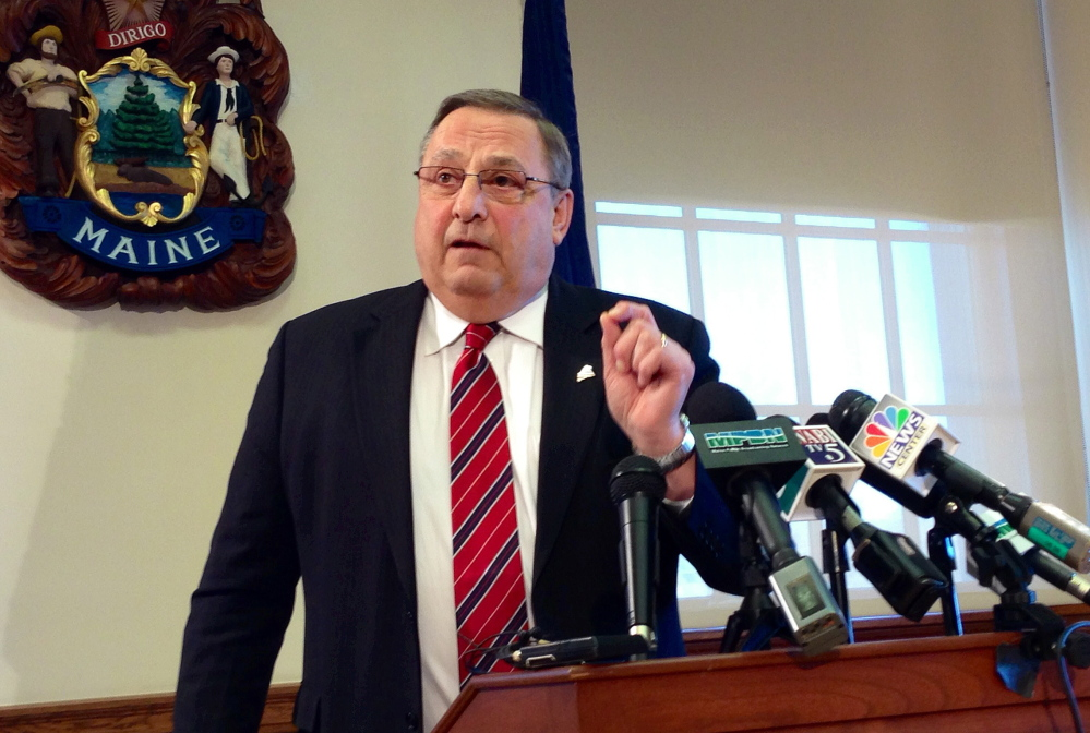 Gov. Paul LePage, appearing at a State House press conference on Tuesday, says he wants to replenish the state's rainy day fund.