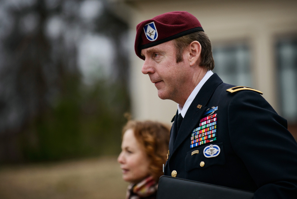 Brig. Gen. Jeffrey Sinclair leaves the courthouse on Tuesday at Fort Bragg, N.C. By admitting guilt on the three charges for which there is the strongest evidence, the married father of two hopes to narrow the focus of the trial to charges that rely heavily on the testimony and credibility of his former mistress.