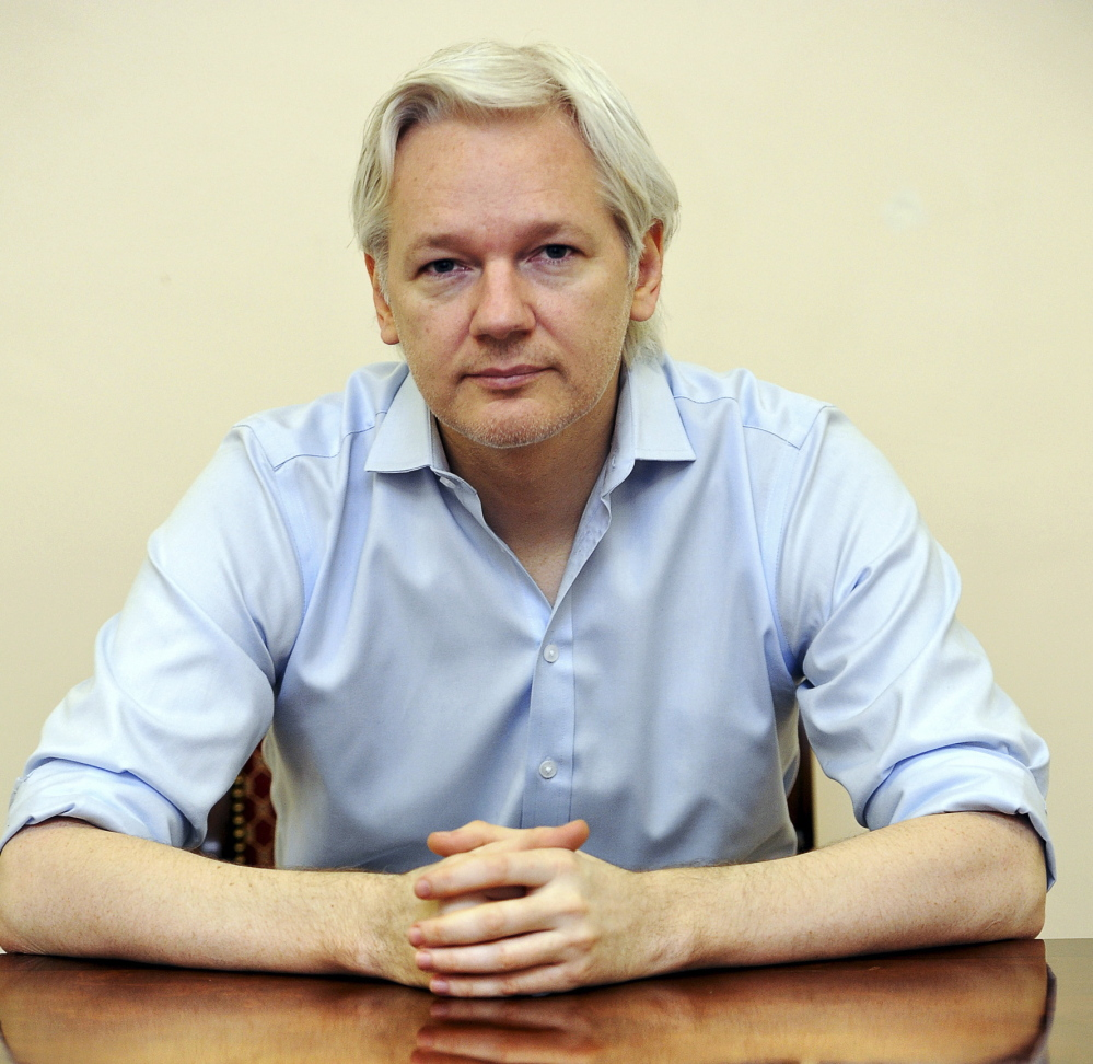 Julian Assange, shown speaking from the Ecuadorian Embassy in London previously, says he will release more classified data.