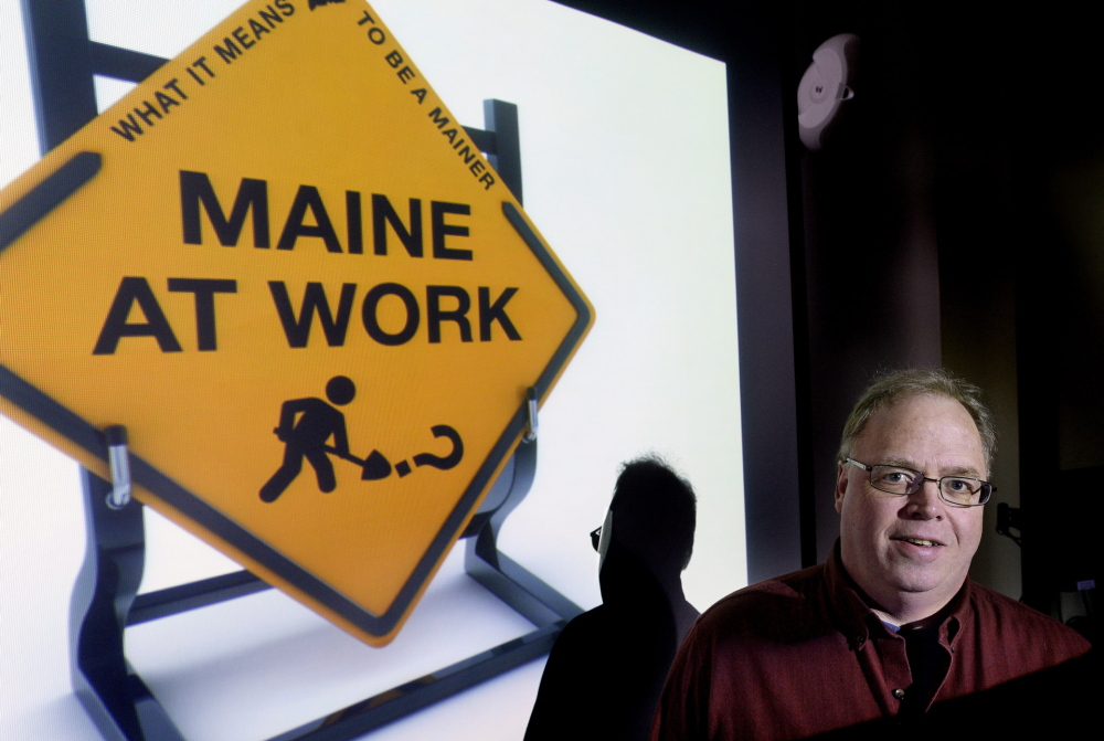 "David Greenham has written a one-man presentation, ""Maine at Work,"" that looks at the history of jobs in Maine."
