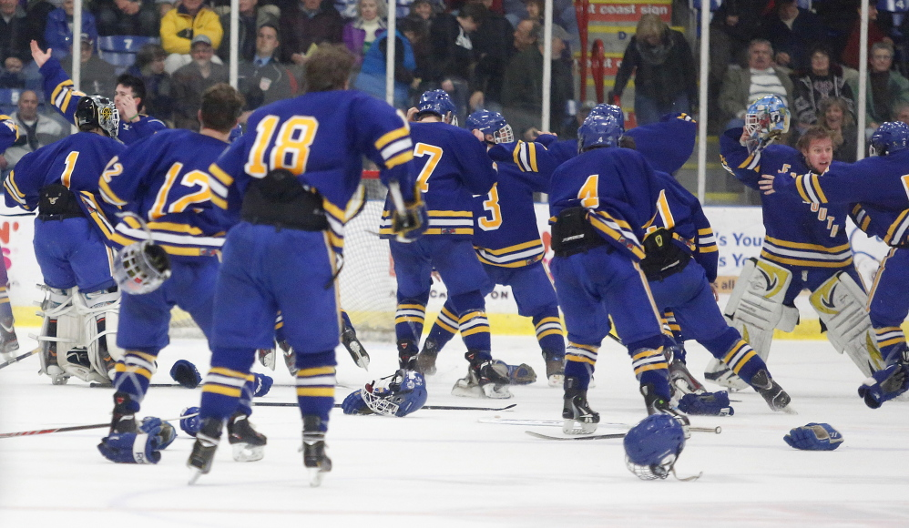 In a game filled with tension and emotion, the Falmouth hockey team was able to get the overtime goal that made all the work worthwhile Saturday night, emerging as a 3-2 victor against St. Dominic in the Class A championship game at the Colisee.