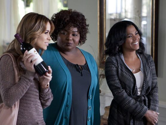 "Zulay Henao, Cocoa Brown and Nia Long in ""Tyler Perry's The Single Mom's Club."""