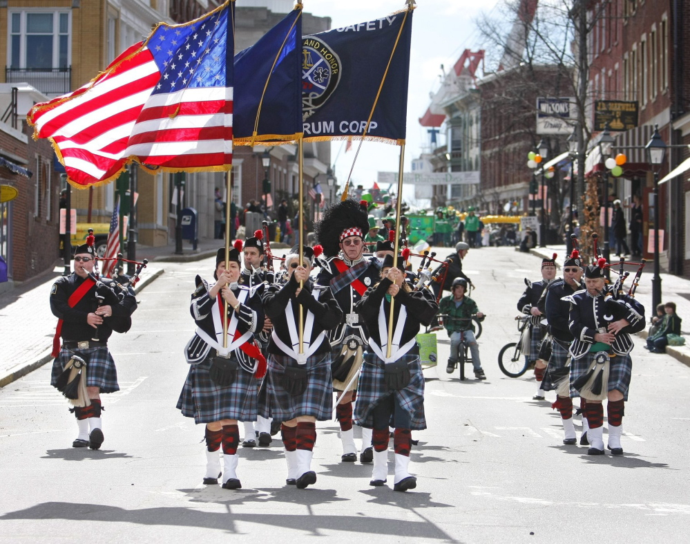The Maine Public Safety Pipe & Drum Corps plays in a previous Bath Blarney Days parade. This year's Irish fest takes place in Bath from Friday to Monday. And the band will be playing at several locations in Portland, Bath and Brunswick on St. Patrick's Day Monday.