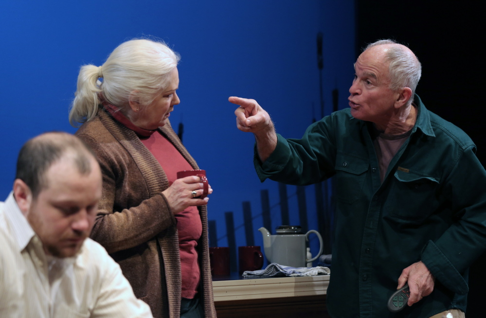"J.P. Guimont as Jack, Florence Lacey as Peg and Will Rhys as Gunner in Good Theater's production of ""The Outgoing Tide"" at St. Lawrence Arts in Portland."