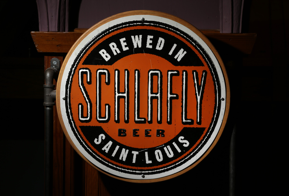 The logo seen on bottles of beer produced by the brewery co-founded by Tom Schlafly.