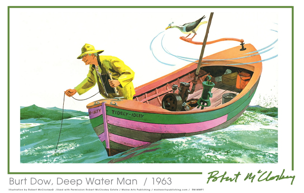 "This image is from the Robert McCloskey book ""Burt Dow, Deep Water Man."" McCloskey art will soon be on posters and note cards."