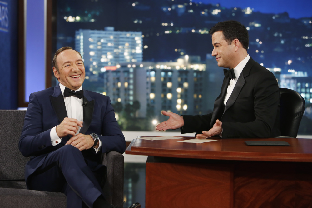 "Kevin Spacey, left, appears on ""Jimmy Kimmel Live"" on March 2. Toronto Mayor Rob Ford also made a cameo appearance."