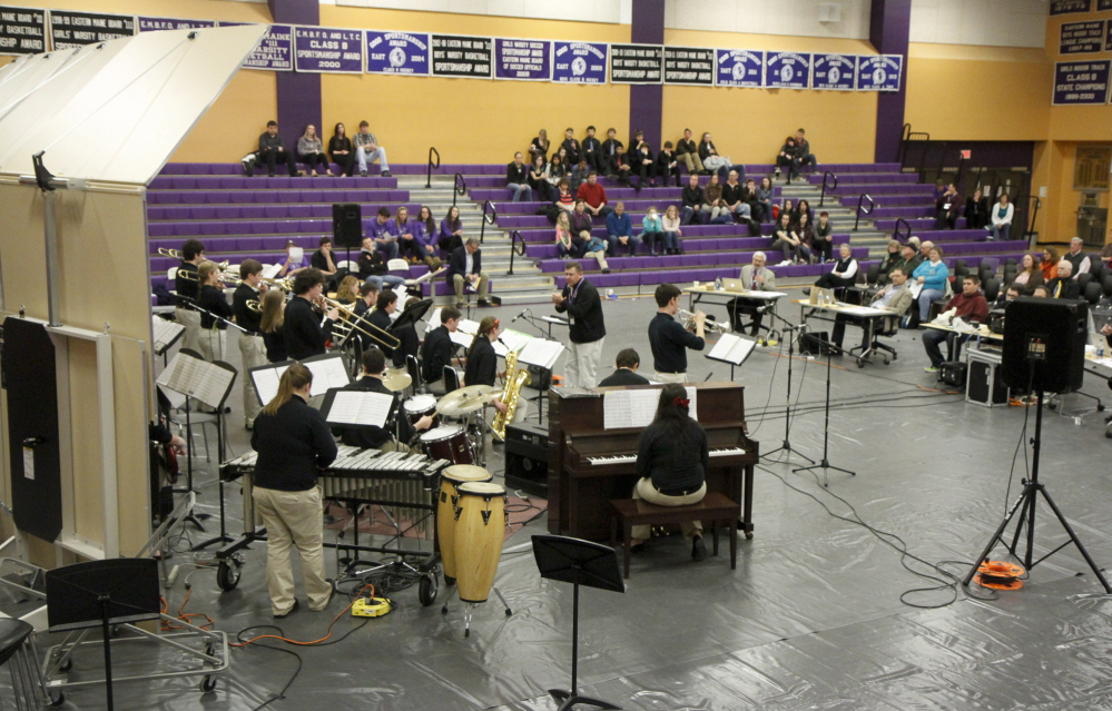 The South Portland High School Jazz Ensemble competes in the Maine State High School Instrumental Jazz Festival at Hampden Academy on Saturday.