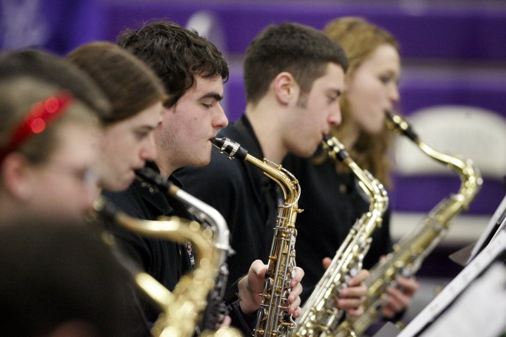 South Portland High School's saxophone section. The South Portland band won first place in the Division 1 competition of the Maine State High School Instrumental Jazz Festival, held Friday and Saturday at Hampden Academy.