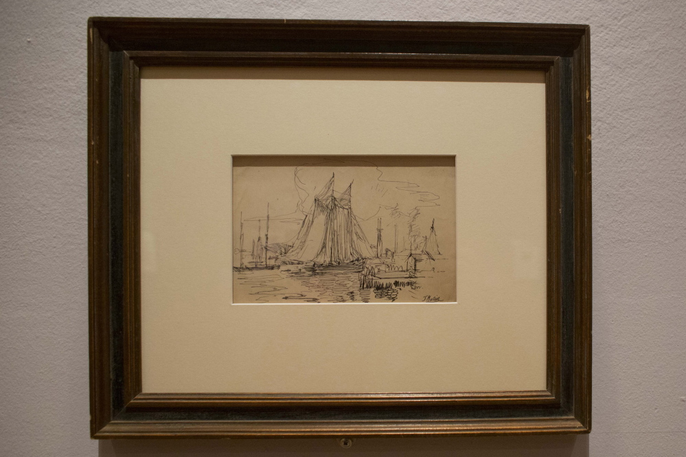 "This sketch by John Marin in black ink on paper, titled ""Delaware River,"" is on display at the Arkansas Arts Center, which has built a reputation for its collection of artworks done on paper."