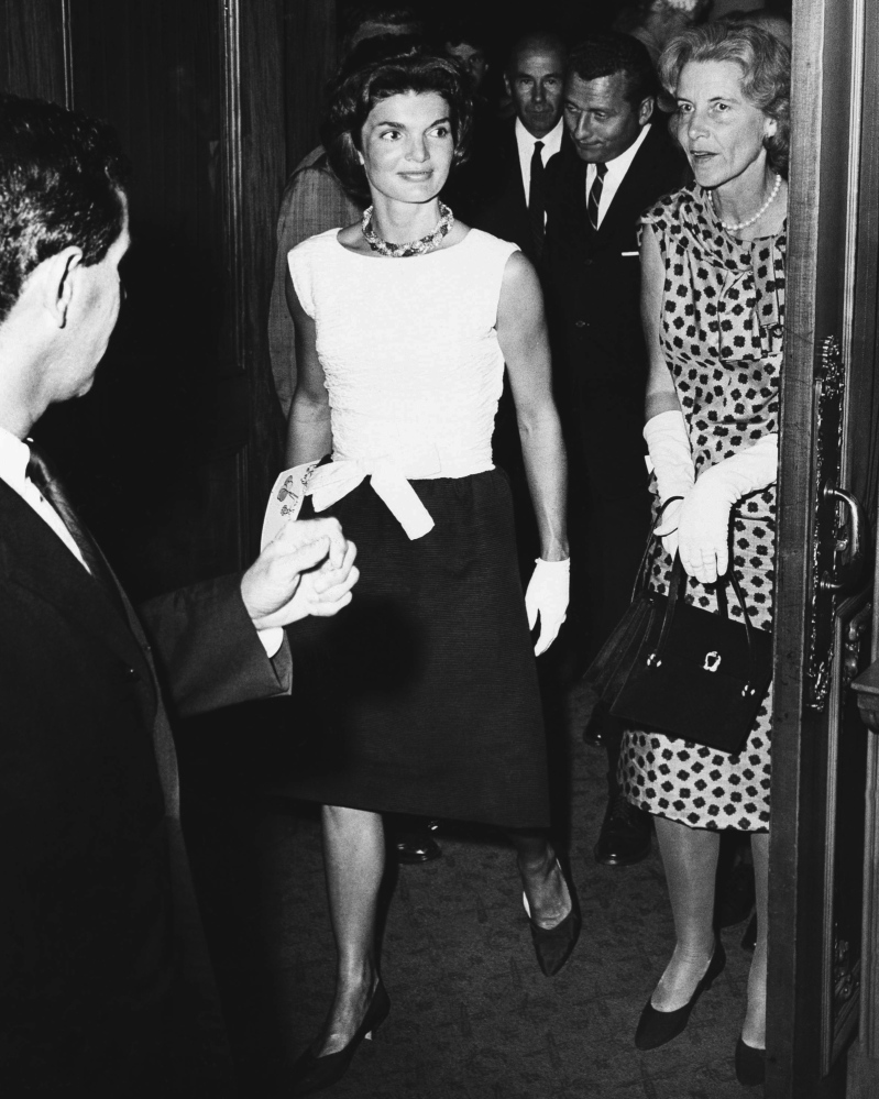 "Rachel ""Bunny"" Mellon, right, accompanies Jacqueline Kennedy at the Colonial Theatre in Boston on Aug. 17, 1961. The two developed a close friendship."