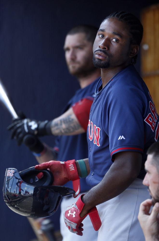 Jackie Bradley Jr., who is hitting .189 this spring, has options and could be sent to Triple-A if Grady Sizemore wins the center-field job. That's likely why Daniel Nava will be tested as a possible backup.