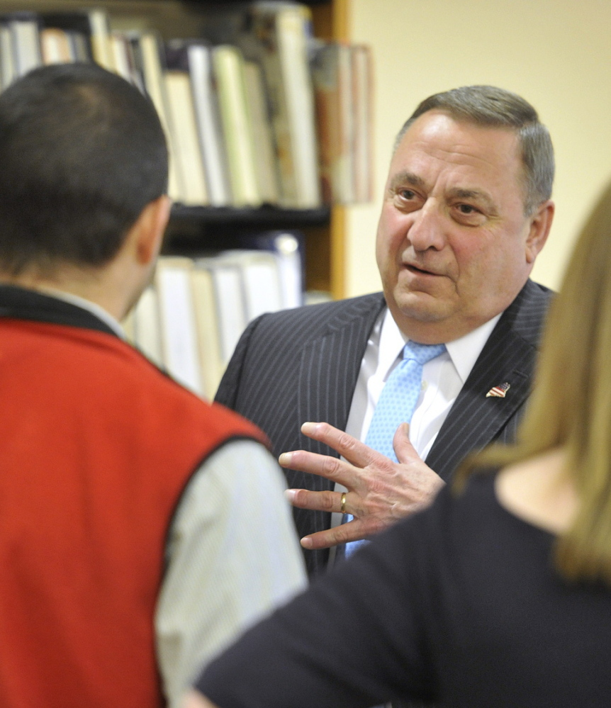 "Maine Gov. Paul LePage told students, ""Not a single young lady or young man in this room deserves to be abused,"" at South Portland High School on Tuesday."
