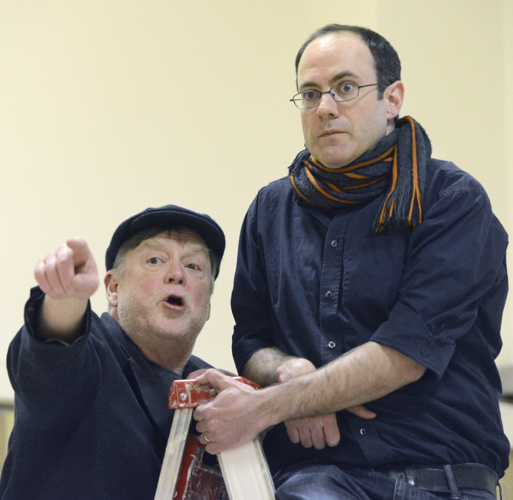 "Tony Reilly and Christopher Holt rehearse a scene for ""Da."""