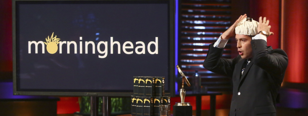 "Max Valverde, a Scarborough High graduate living in Needham, Mass., demonstrates his Morninghead invention to end ""bed head"" on an episode of ABC's ""Shark Tank."" He will be on the show from 9-10 p.m. Friday trying to convince the investors to back his product."