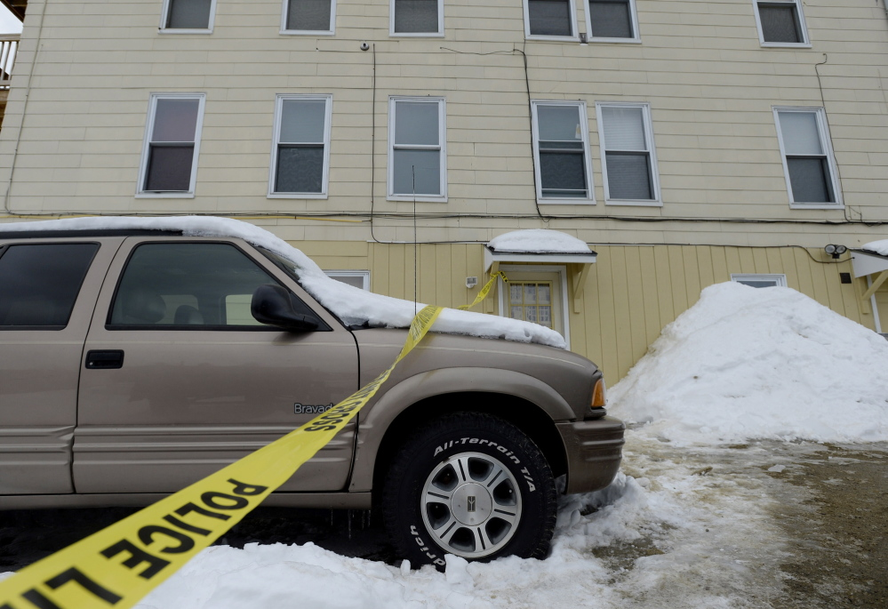 Police tape marks the scene at 77 Maine Ave. in Rumford where 25-year-old Jessica Byrn-Francisco was shot twice Tuesday afternoon during an altercation with Rumford police.