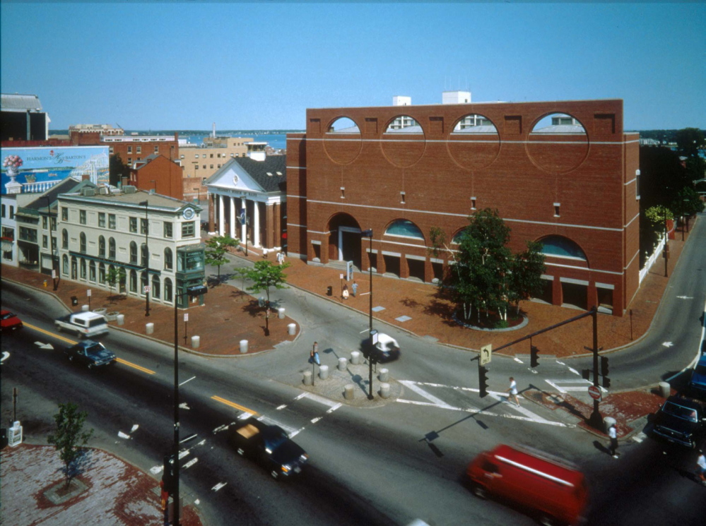 Congress Square is shown with the Portland Museum of Art, brick building, and Children's Museum of Maine to its left.