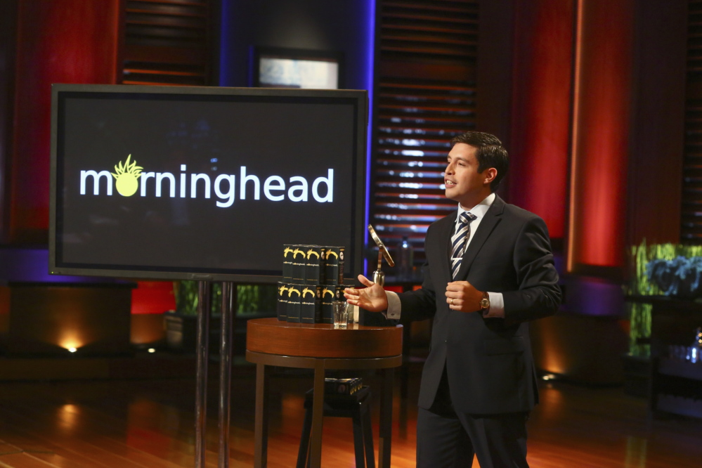 "Max Valverde, a Scarborough High graduate living in Needham, Mass., demonstrates Morninghead, his invention to end ""bed head,"" on Friday night's episode of ABC's ""Shark Tank."" He failed to convince the show's investors to invest in his product."