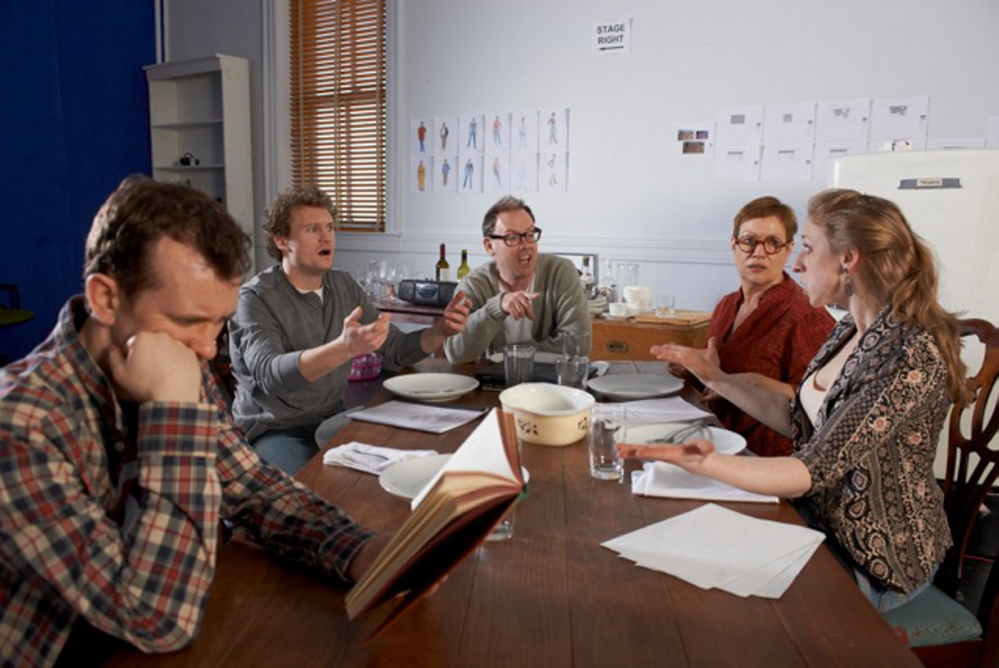 "Garrett Zuercher, left, Matthew Stuart Jackson, Michael Sean McGuinness, Elizabeth West and Kat Moraros in ""Tribes, an exploration of how a family copes when one of its members is deaf, opening this week at Portland Stage Company."