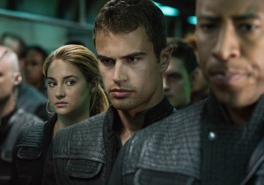 "Shailene Woodley and Theo James in a scene from ""Divergent."""