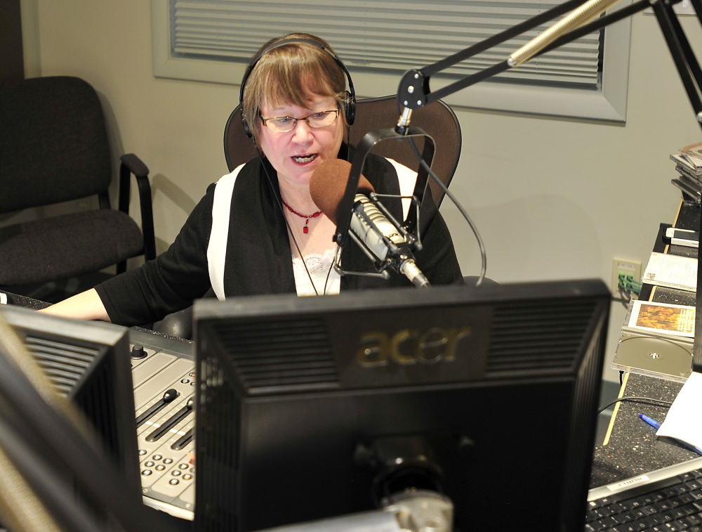 Robin Rilette on the air in the Portland studios of Maine Public Broadcasting Network.