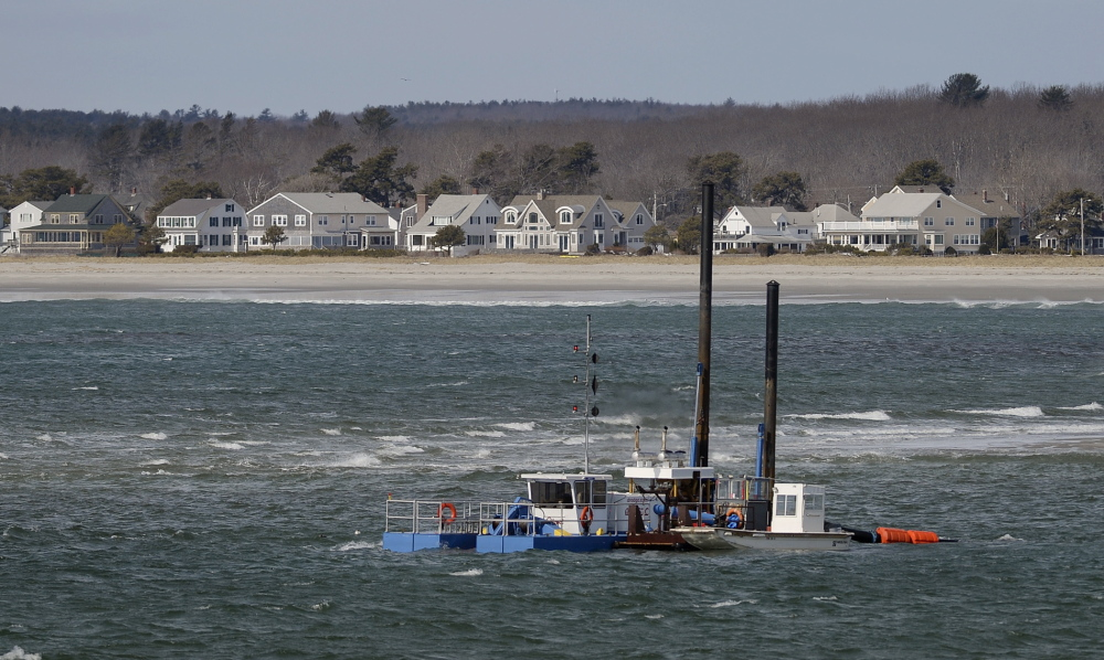 Dredging work was being done Friday at the mouth of the Scarborough River.