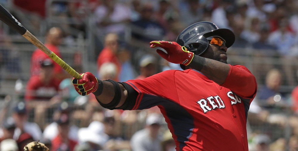 Boston Red Sox designated hitter David Ortiz bats in the third inning of an exhibition baseball game against the Tampa Bay Rays in Fort Myers, Fla., on Sunday.