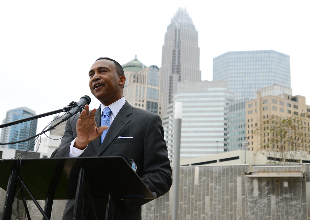 Charlotte Mayor-elect Patrick D. Cannon speaks at his first post-election appearance in uptown Charlotte, N.C., in this Nov. 7, 2013, photo.