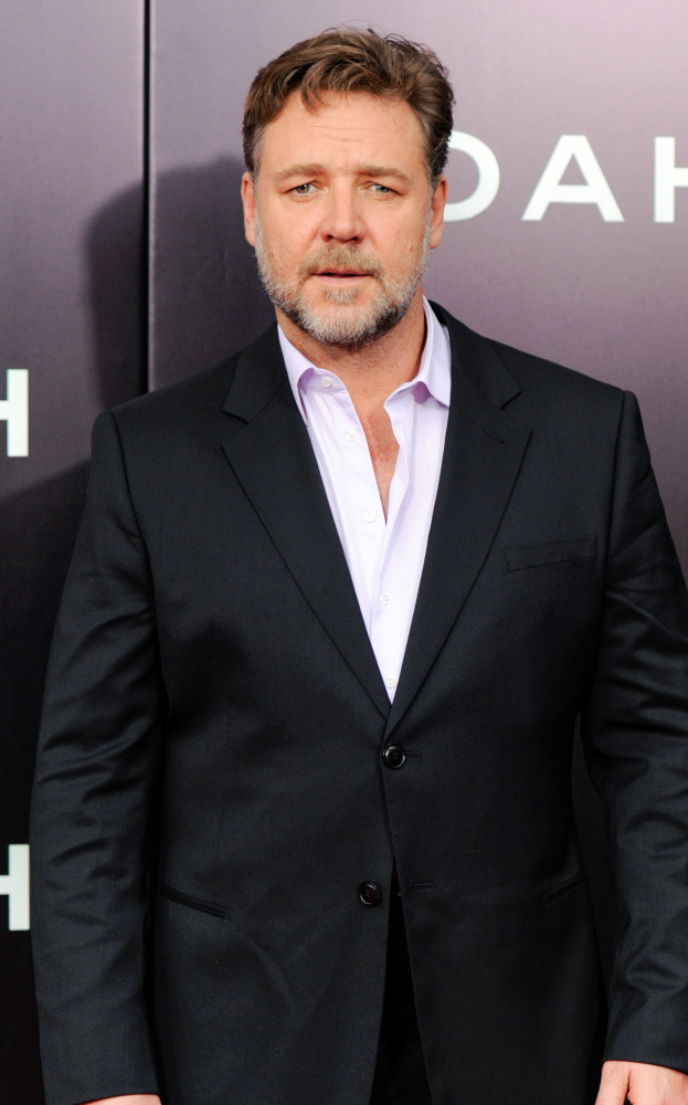 "Russell Crowe attends the premiere of ""Noah"" at the Ziegfeld Theatre on Wednesday in New York. The film opens Friday."