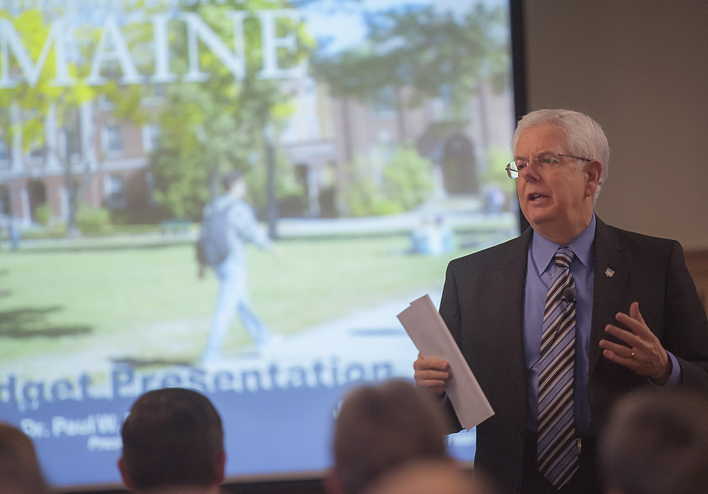 University of Maine President Dr. Paul Ferguson speaks as part of a budget presentation to employees at the Wells Conference Center in Orono on Friday.