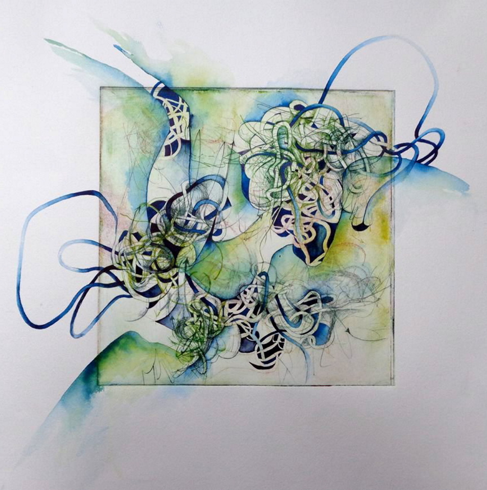Adrienne Beacham blends painting, drawing, fabric and fiber constructions and collage to form her works.