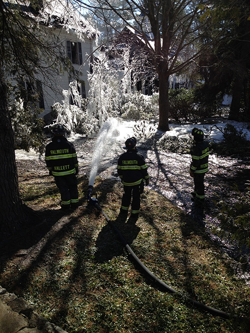 Firefighters were still on the scene at 10:30 a.m. Monday after an early morning fire at 169 Foreside Road in Falmouth. The fire was reported at 5 a.m.