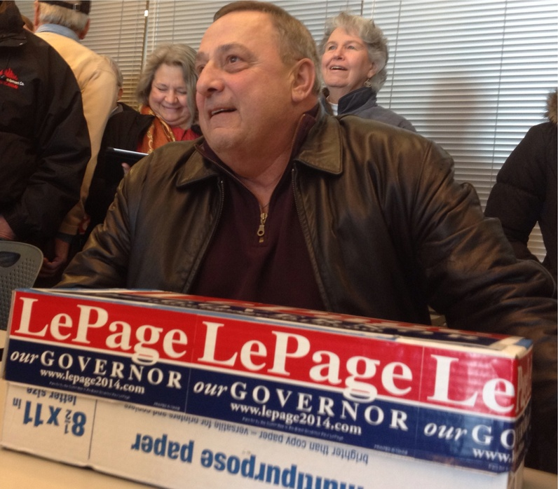 Gov. Paul LePage delivers signed petitions Friday in Augusta to get his name on the ballot for re-election.