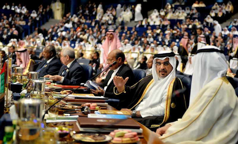Bahraini Crown Prince Salman bin Hamad Al Khalifa, second from right, attends Tuesday's opening session of the Arab League Summit in Bayan Palace, Kuwait City.