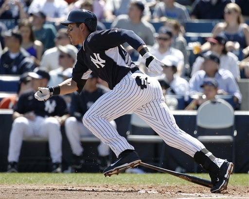 Jacoby Ellsbury of the New York Yankees runs on a double during a spring training game against the Tampa Bay Rays earlier this month.