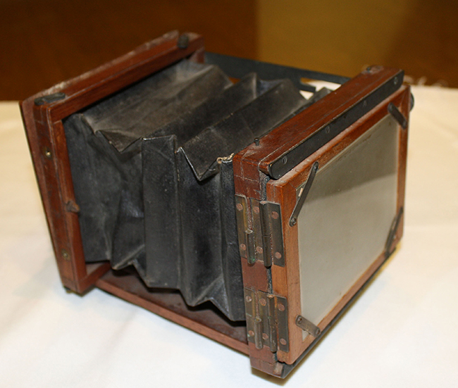 A Mawson & Swan hand-held camera, circa 1880s, once owned by Winslow Homer. The camera is a gift to the Bowdoin College Museum of Art from Neal Paulsen of Scarborough.