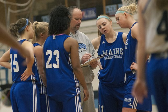 UMaine women's basketball coach Richard Barron calls a play during a practice in Orono earlier this month.
