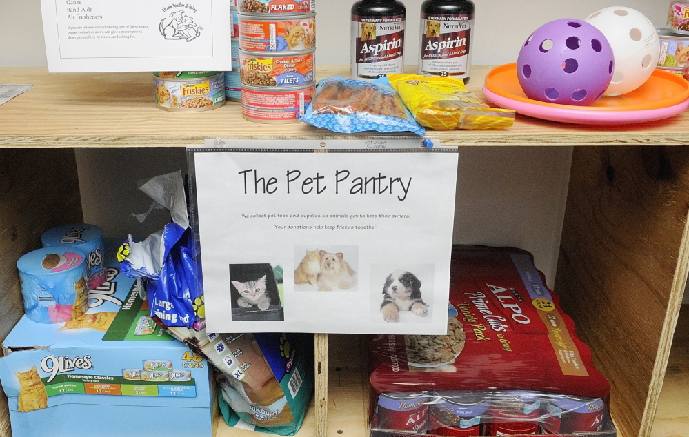 Some of the donated items for the Amy Buxton Pet Pantry are on display in the lobby of South Parish Congregational Church in Augusta.