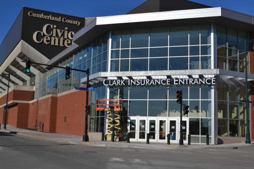 The Clark Insurance name is already up after the company bought naming rights to the Cumberland County Civic Center's renovated entrance at Spring and Center streets.
