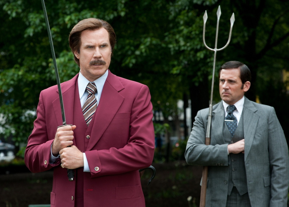 "Will Ferrell, left, as Ron Burgundy and Steve Carell as Brick Tamland in ""Anchorman 2: The Legend Continues."""