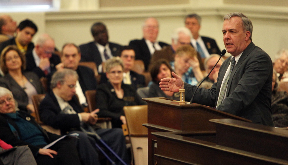 N.H. State Rep. Rennie Cushing speaks at the Statehouse in Concord, N.H., back on March 12, where he argued for a House vote to repeal the state's death penalty.