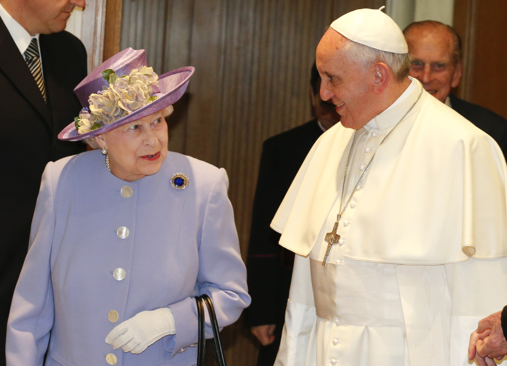 Britain's Queen Elizabeth II and Pope Francis meet at the Vatican on Thursday.
