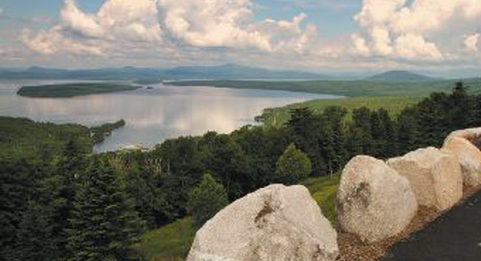 "This vista in Rangeley reinforces the ""elevated sense of living."""