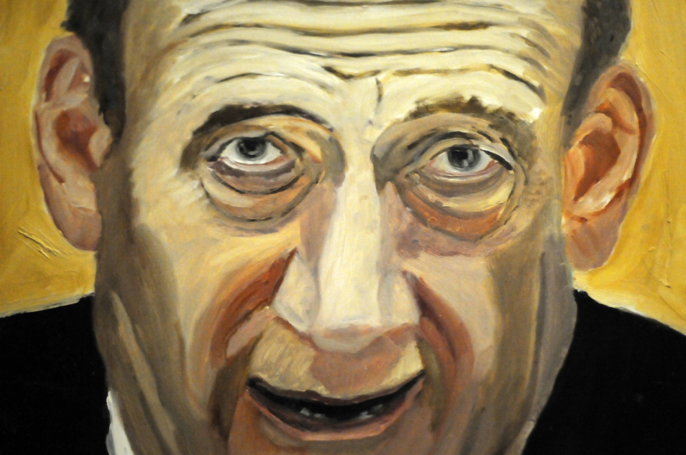 "A detail of a portrait of former Israeli Prime Minister Ehud Olmert. It is part of the exhibit ""The Art of Leadership: A President's Diplomacy."""