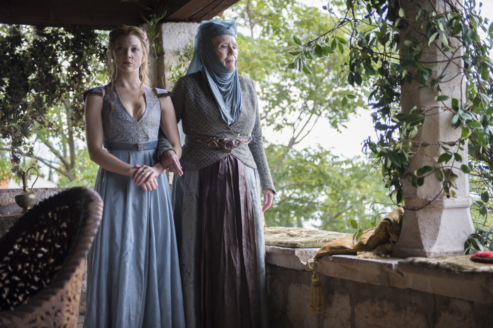 "Natalie Dormer, left, and Diana Rigg play Lady Margaery Tyrell and Lady Olenna Tyrell, the ""Queen of Thorns,"" in ""Game of Thrones."""