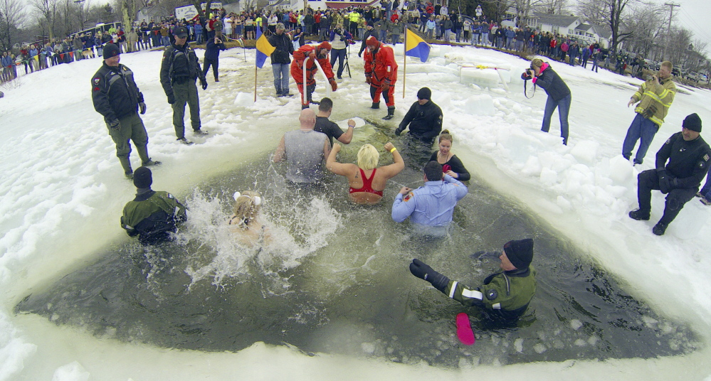 A crowd watches from shore as plungers climb out of a hole in the ice after jumping into Maranacook Lake on Saturday.