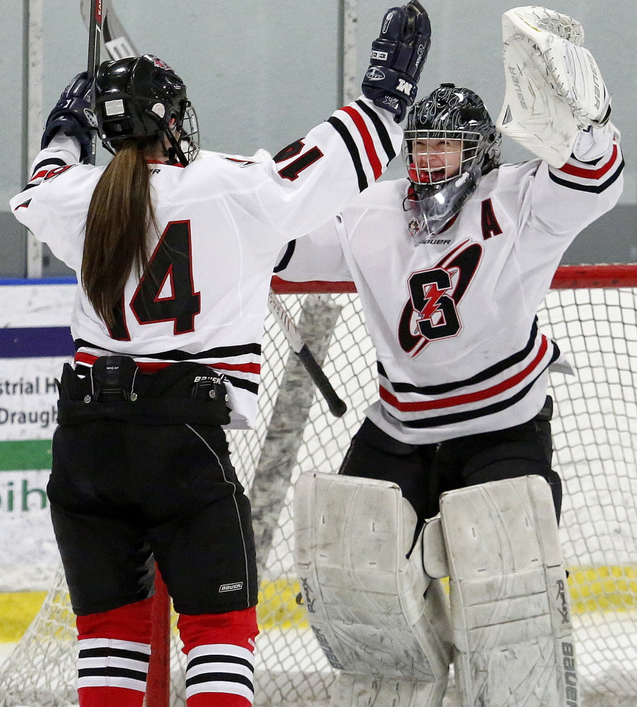 Scarborough goalie Devan Kane finished her high school career with 31 shutouts, including 11 this season while leading the Red Storm to an unbeaten season and their first state title.